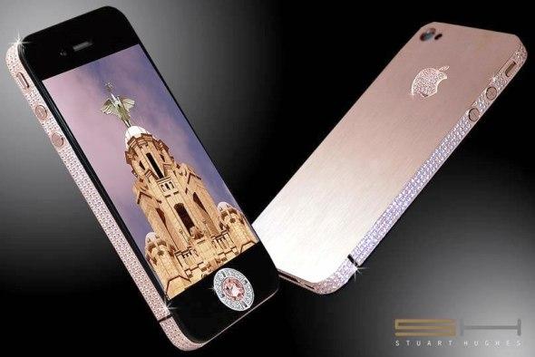 Стюарт Хьюз представил самый дорогой в мире телефон iPhone 4 Diamond Rose