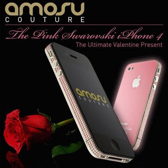 Amosu Couture представил розовый смартфон Valentine Pink Swarovski iPhone 4