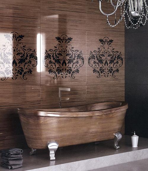Деревянный стиль интерьера ванных комнат от Flora