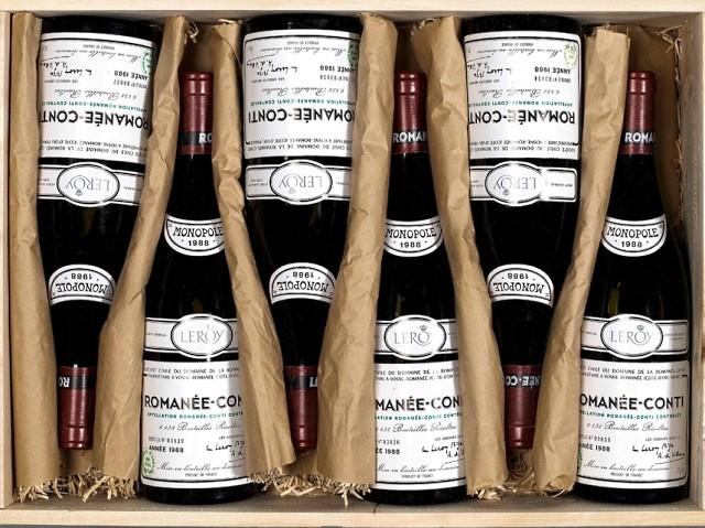 Bonhams продал самый дорогой ящик вина Romante-Conti 1988 года