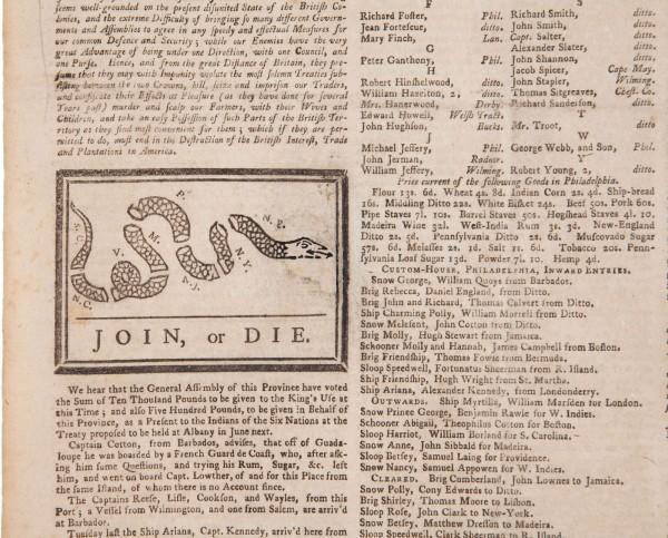 Работа Бенджамина Франклина «Присоединись или умри» уйдет с молотка Heritage