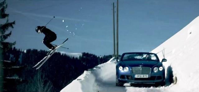 Bentley Continental GTC сразился с лыжниками Zai