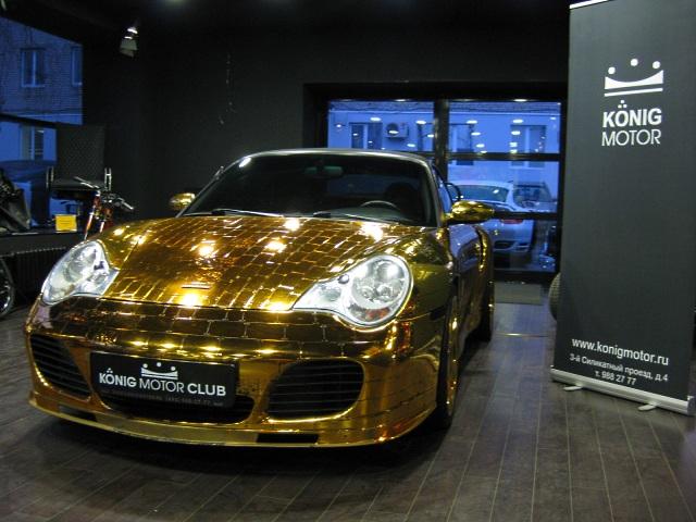 Золотой Porsche 996 Turbo Cabriolet в России