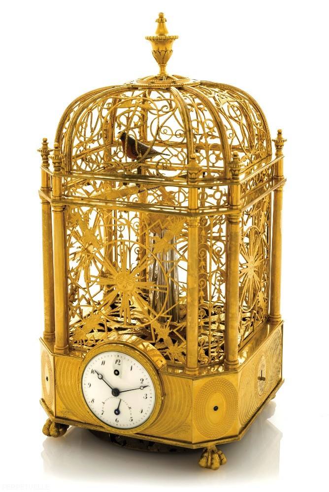 Singing Bird Cage Clock Automaton by Jaquet Droz