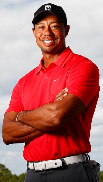 Tiger straight on red shirt