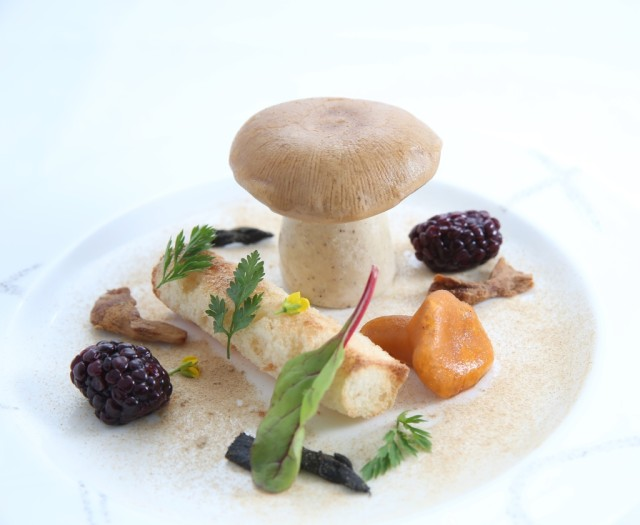 Foie-gras and mushrooms Cathay Pacific Mandarin Oriental