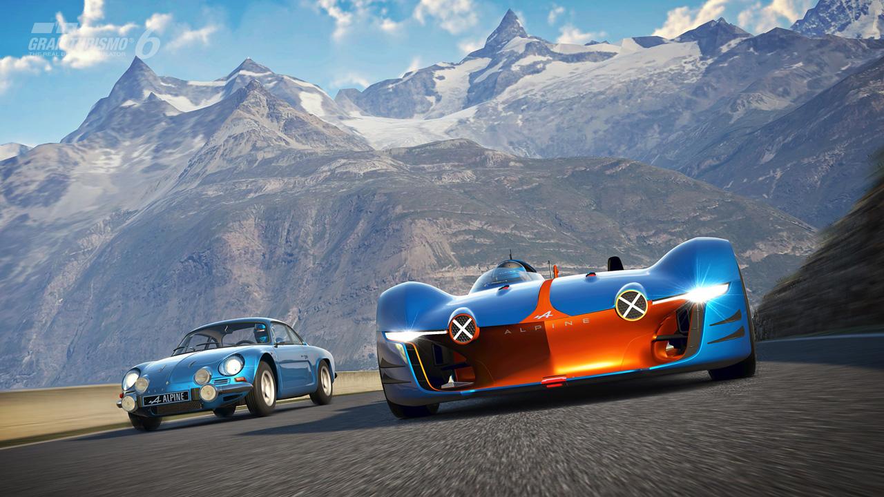 Клиновидный передок Alpine Vision Gran Turismo оснащен дополнительными фарами, что очень напоминает Berlinette A110. Задняя часть во многом была заимствована от Ле-Манского болида Alpine из 60-х прошлого века. Это также отразилось на длинном и обтекаем корпусе суперкара. Реальную версию Alpine Vision Gran Turismo обещают выпустить в 2016 году.
