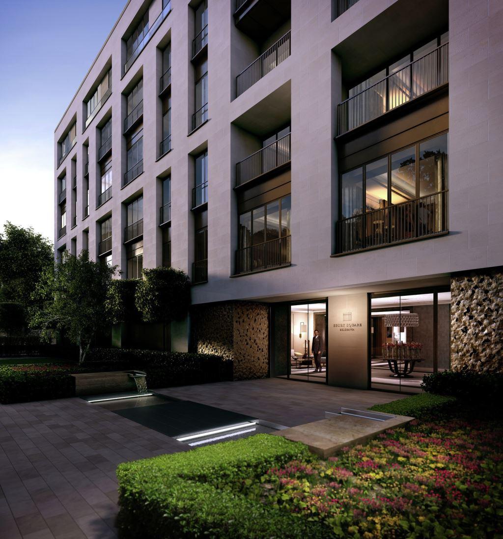 CGI Dusk Exterior of Residential Gardens at Ebury Square Development